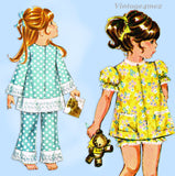 Copy of 1960s Vintage McCalls Sewing Pattern 2439 Easy Uncut Toddler Pjs & Robe Sz 6x