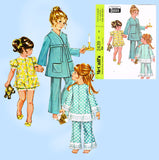 1960s Vintage McCalls Sewing Pattern 2439 Easy Uncut Toddler Pjs & Robe Sz 6x