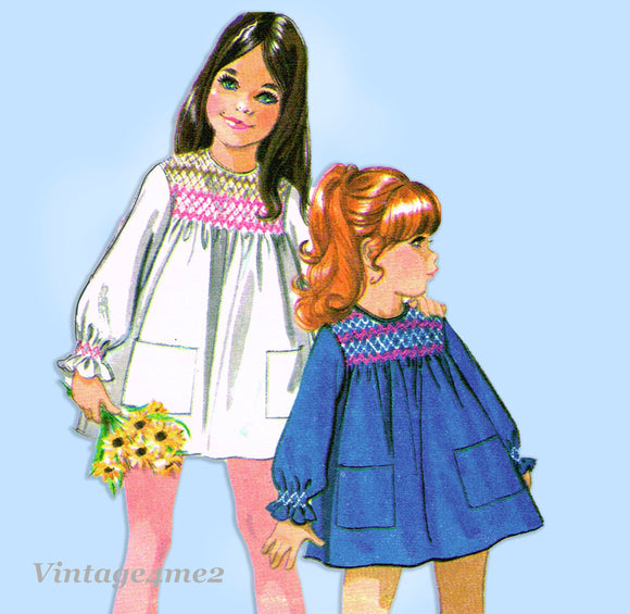 McCall 2447: 1970s Uncut Toddler Girls Smocked Dress Sz 6 Vintage Sewing Pattern