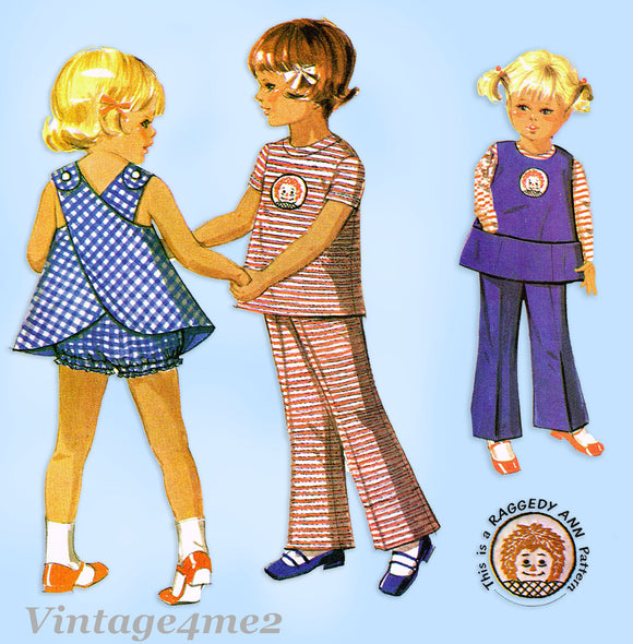1960s Vintage McCalls Sewing Pattern 2529 Uncut Toddler Girls Play Clothes Size 6x