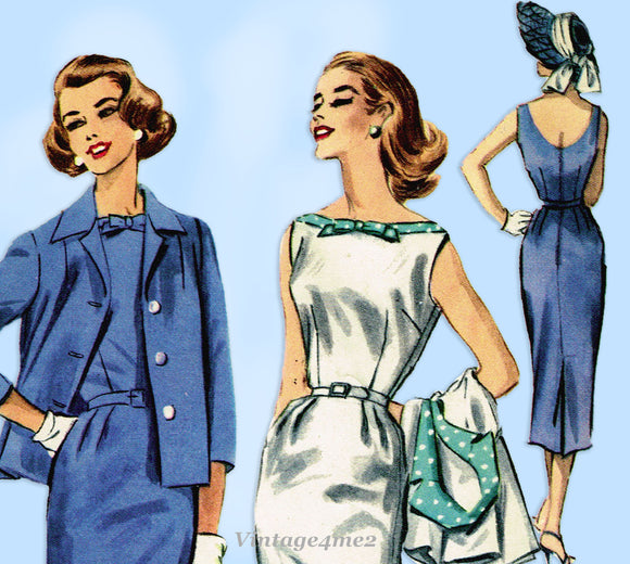 McCall's 4109: 1950s Uncut Misses Wiggle Dress Sz 34 Bust Vintage Sewing Pattern