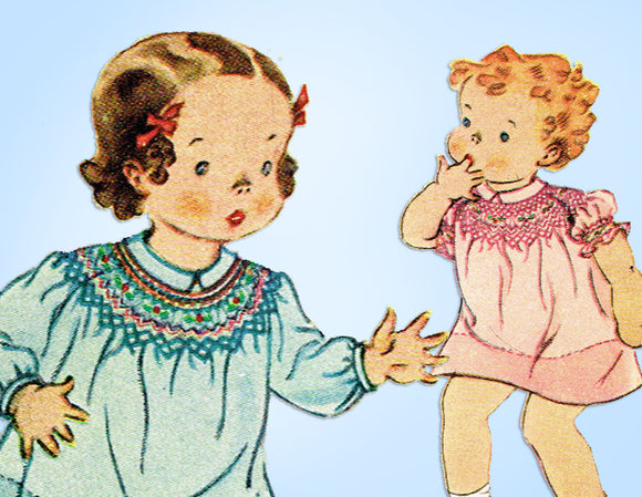 McCall 442: 1930s Baby Girls Smocked Dress Sz 1 Original Vintage Sewing Pattern - Vintage4me2