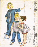 1950s Vintage McCalls Sewing Pattern 4501 Little Girls Baby Doll Pajamas Size 8