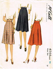 1940s Vintage McCall Sewing Pattern 4566 Uncut Misses WWII 8 Gore Skirt Sz 26 W