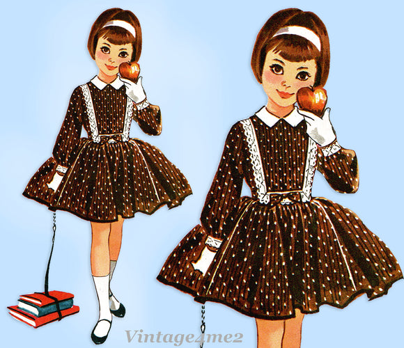 1950s Vintage McCalls Sewing Pattern 4643 Toddler Girls Helen Lee Dress Size 6