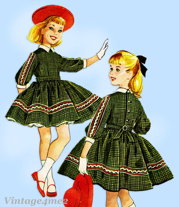 1950s Vintage McCalls Sewing Pattern 5087 Cute Helen Lee Girls Dress Size 8