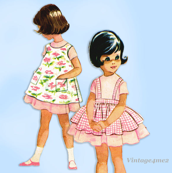 1960s Vintage McCalls Sewing Pattern 5616 Instant Toddler Girls Dress Sz 5