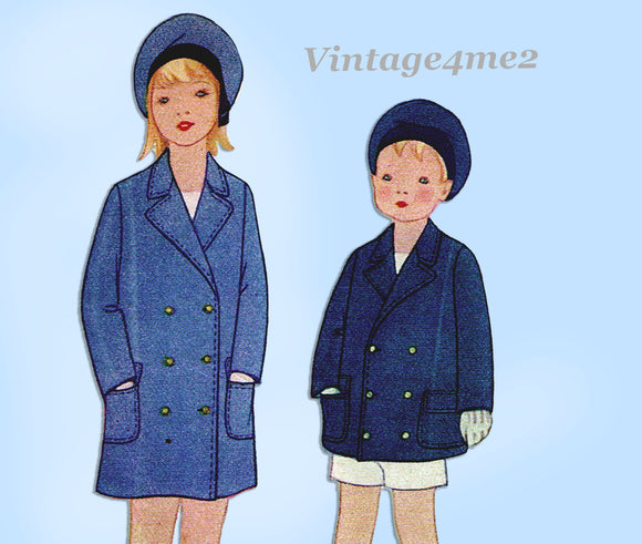 McCall 5809: 1920s Cute Uncut Toddlers Reefer Coat Size 2 Vintage Sewing Pattern