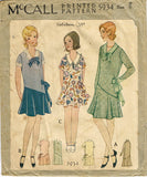 1920s ORIG Vintage McCall Sewing Patterm 5934 Little Girls Flapper Dress Size 8