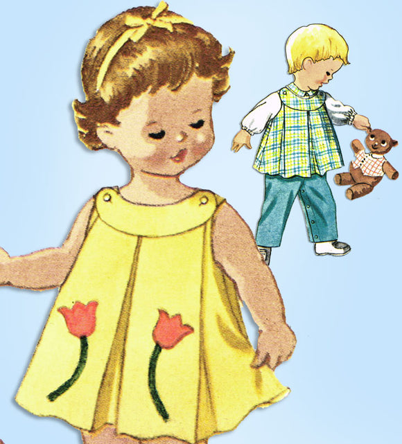 1960s Vintage McCall's Sewing Pattern 6173 Baby Twins Dress & Top w Pants Sz 6mo - Vintage4me2