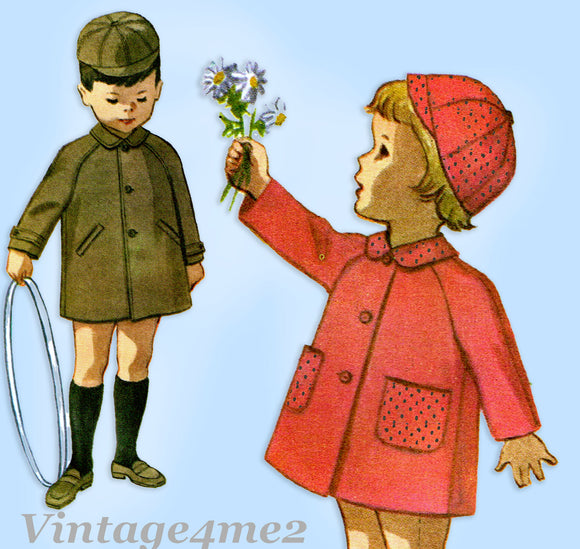 1960s Vintage MccCall's Sewing Pattern 6255 Uncut Toddler Boys Coat & Cap Sz4