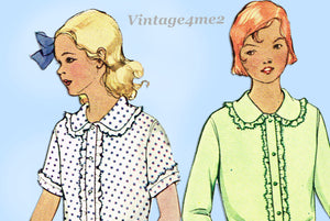 McCall 6559: 1930s Cute Uncut Girls Blouse Size 8 Vintage Sewing Pattern