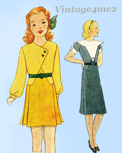 McCall 7015: 1930s Uncut Girls Art Deco Dress Size 8 Vintage Sewing Pattern