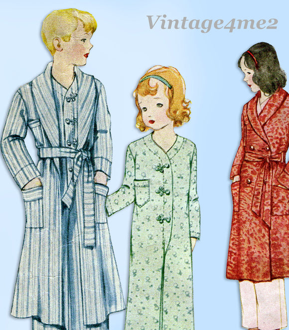 McCall Pattern 7064: 1930s Girls Housecoat & PJs Sz 8 Vintage Sewing Pattern