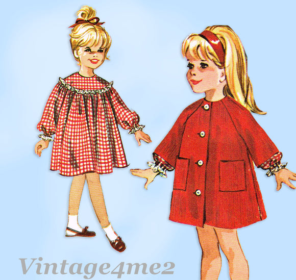1960s Original Vintage McCalls Pattern 7089 Toddler Girls Dress & Robe Size 2