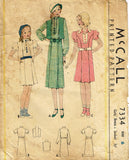 1930s Original Vintage McCall Pattern 7334 Toddler Girls Dress & Jacket Size 6