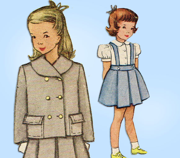 McCall 7807: 1940s Toddler Girls Suit Size 3 Original Vintage Sewing Pattern - Vintage4me2