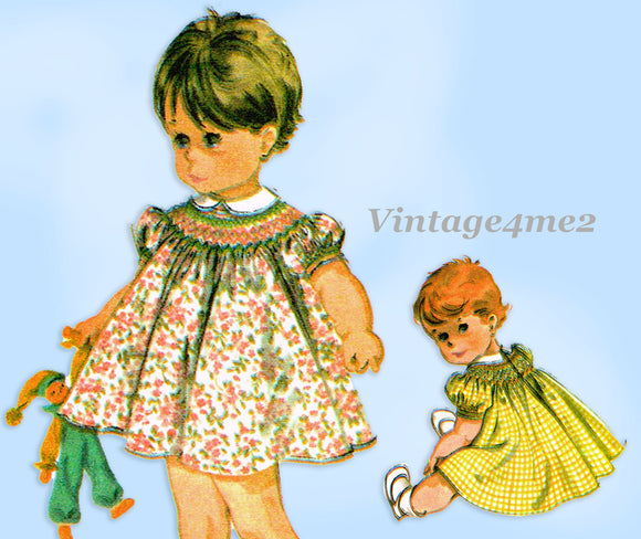 1960s Vintage McCalls Sewing Pattern 7842 Uncut Baby Girls Smocked Dress Size 6 mos