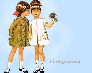 1960s Vintage McCall's Sewing Pattern 8001 Uncut Toddler Girls Dress and Coat Size 3