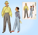 McCall 8059: 1950s Uncut Little Girls Pants or Slack Sz 8 Vintage Sewing Pattern - Vintage4me2