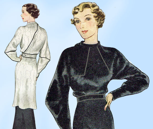 McCall 8074: 1930s Tunic Dress w Batwing Sleeves Size 40B Vintage Sewing Pattern - Vintage4me2