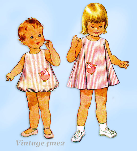 1960s Vintage McCalls Sewing Pattern 8121 Toddler Girls Helen Lee Bubble Romper Size 6 months