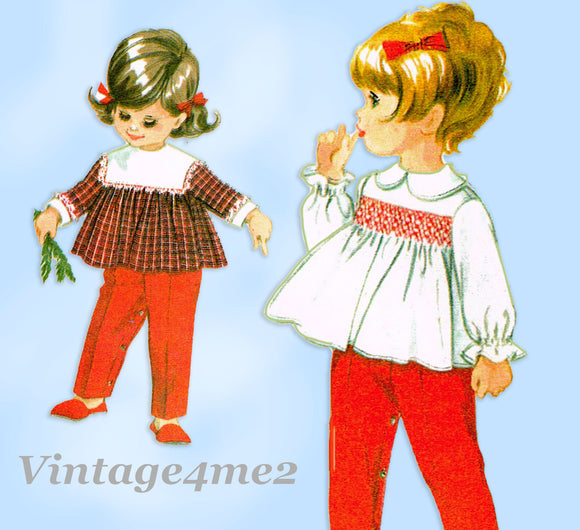 McCall 8473: 1960s Uncut Baby Helen Lee Smocked Top 6mos Vintage Sewing Pattern
