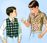 1960s Vintage McCalls Sewing Pattern 8971 Uncut Toddler Boy's Shirt & Vest Sz 4