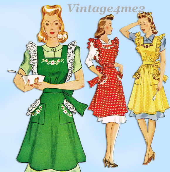 McCall 917: 1940s Cute Misses WWII Pinafore Apron Size 32-34 Bust Sewing Pattern