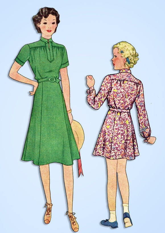 1930s Vintage McCall Sewing Pattern 9398 Charming Little Girls Dress Size 8