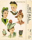 1940s Rare Vintage McCall Sewing Pattern 946 WWII Misses Hat Millinery Set 22 H
