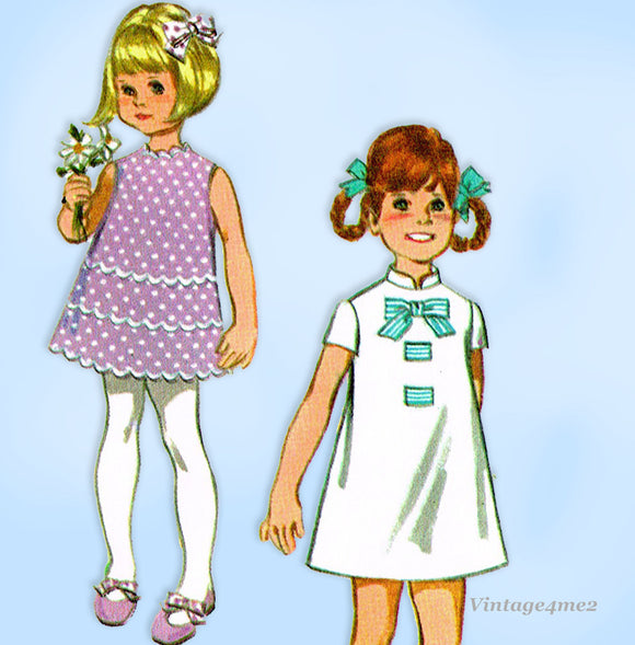 McCall 9590: 1960s Uncut Toddler Girls 6 Way Dress Size 6x Vintage Sewing Pattern