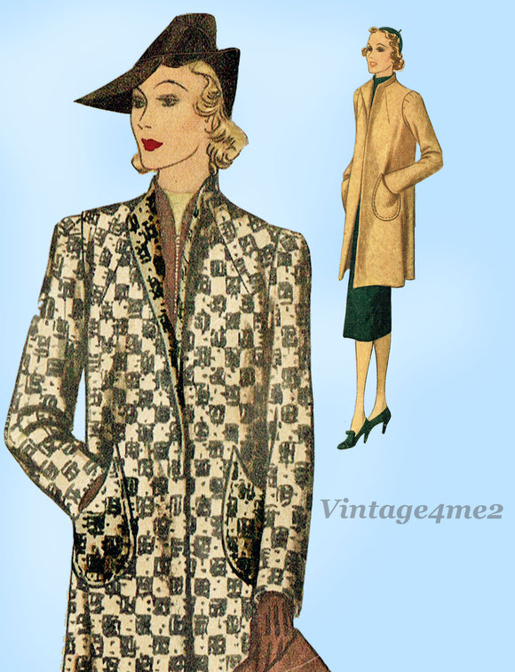 McCall Pattern 9621: 1930s Misses Long Lean Coat Sz 34 B Vintage Sewing Pattern - Vintage4me2