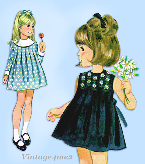 McCall 9653: 1960s Uncut Baby Girls Pleated Dress Size 3 Vintage Sewing Pattern