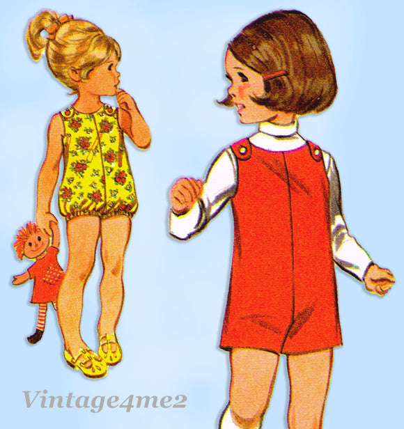 McCall 9665: 1960s Uncut Toddler Girls Romper Size 3 Vintage Sewing Pattern