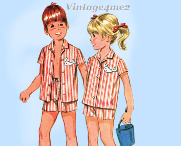 1960s Vintage McCalls Sewing Pattern 9691 Uncut Unisex Toddler Play Clothes Sz 2
