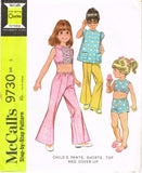1960s Vintage McCalls Sewing Pattern 9730 Uncut Toddler Girls Play Clothes Sz 5