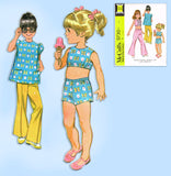 1960s Vintage McCalls Sewing Pattern 9730 Uncut Toddler Girls Play Clothes Sz 6x