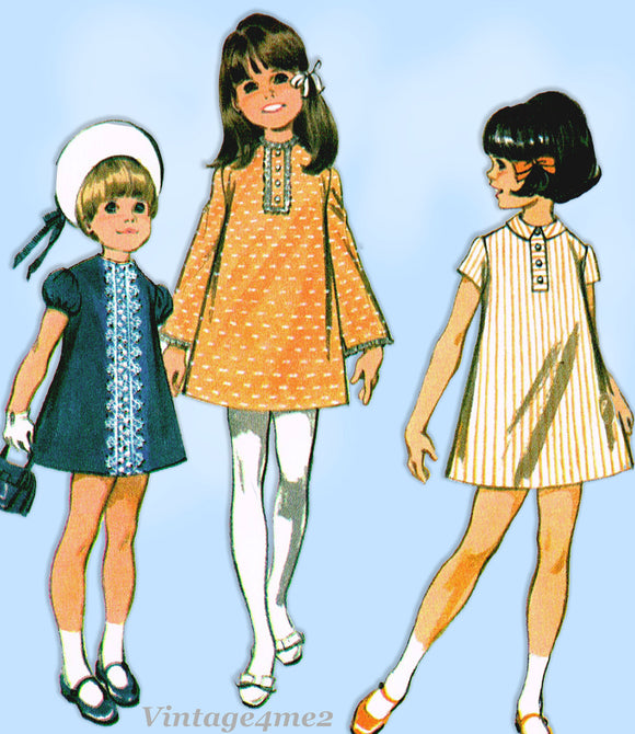 McCall 9762: 1960s Uncut Toddler Girls 6 Way Dress Size 6 Vintage Sewing Pattern