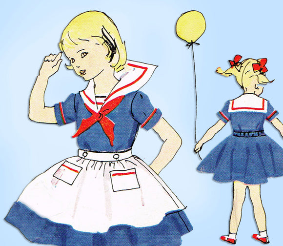 McCall's 9982: 1950s Little Girls Sailor Dress Size 8 Original Vintage Sewing Pattern - Vintage4me2