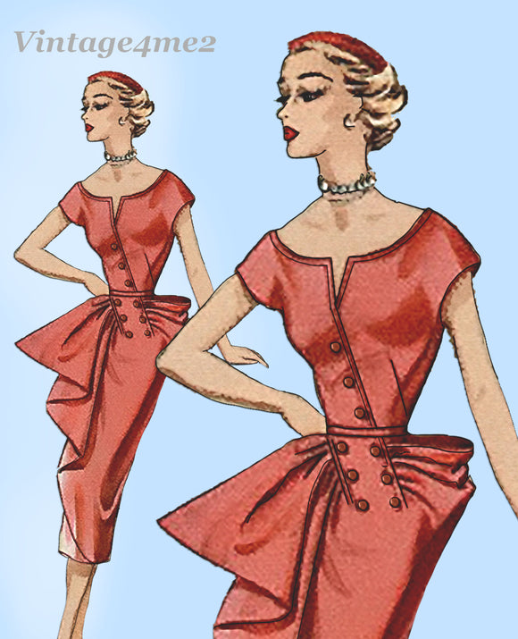 Modes Royale 1170: 1950s Uncut Sexy Cocktail Dress Sz 30B Vintage Sewing Pattern