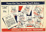 1930s Vintage Monarch Embroidery Transfer M206 DOW Kitten at Work Tea Towels FF - Vintage4me2