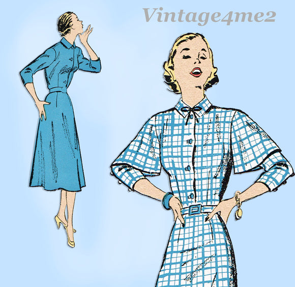 New York 1006: 1940s Uncut Misses Dress Cute Sleeves 32 B Vintage Sewing Pattern