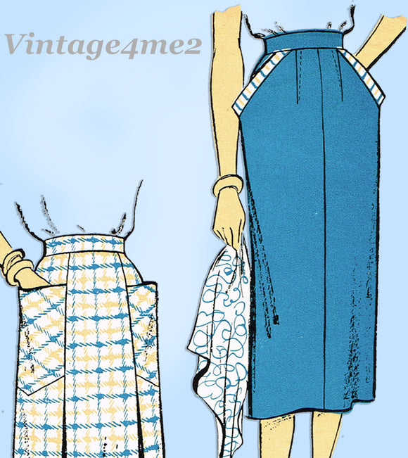 New York 1030: 1950s Uncut Misses Skirt w Pockets Sz 24 W Vintage Sewing Pattern