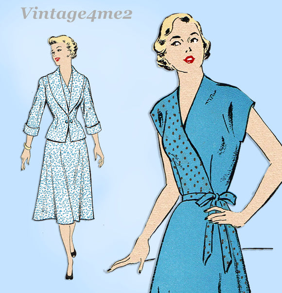 New York 1084: 1940s Uncut Misses Wrap Dress & Jacket 32B Vintage Sewing Pattern