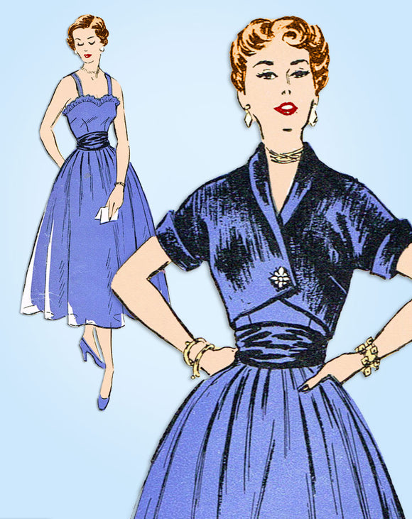 1950s Vintage New York Sewing Pattern 111 Misses Designer Cocktail Dress Sz 32 B
