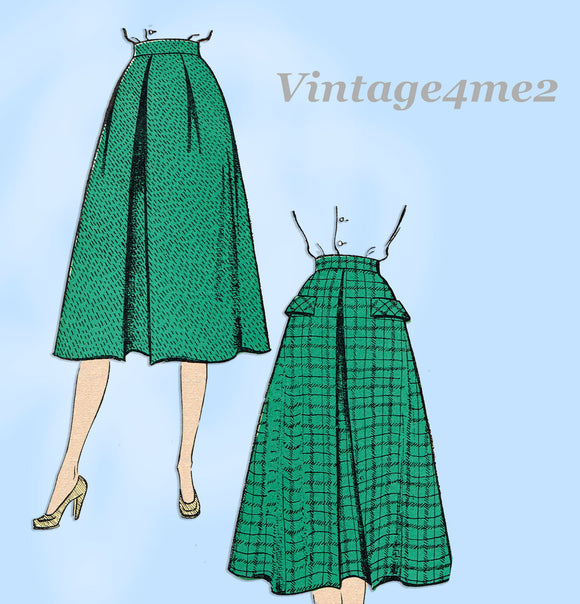 New York 1127: 1950s Uncut Misses Skirt w Pockets Sz 30 W Vintage Sewing Pattern