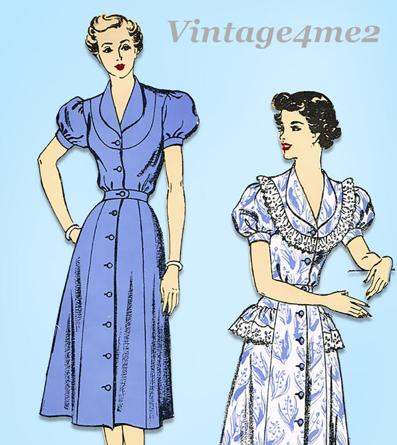 1950s Vintage New York Sewing Pattern 1157 Easy Uncut Misses Dress Size 34 Bust