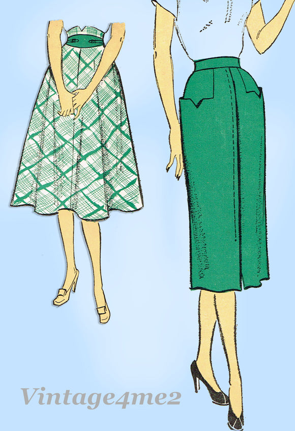 New York 1181: 1950s Uncut Misses Skirt w Pockets Sz 30 W Vintage Sewing Pattern