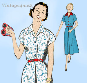 New York 1195: 1950s Uncut Misses Shirtwaist Dress 37B Vintage Sewing Pattern